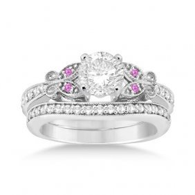 Butterfly Diamond And Pink Sapphire Bridal Set 14k Whit