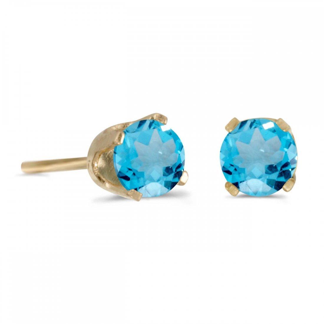 Certified 4 mm Round Blue Topaz Stud Earrings in 14k Ye