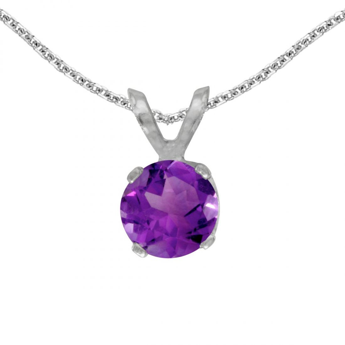 Certified 14k White Gold Round Amethyst Pendant