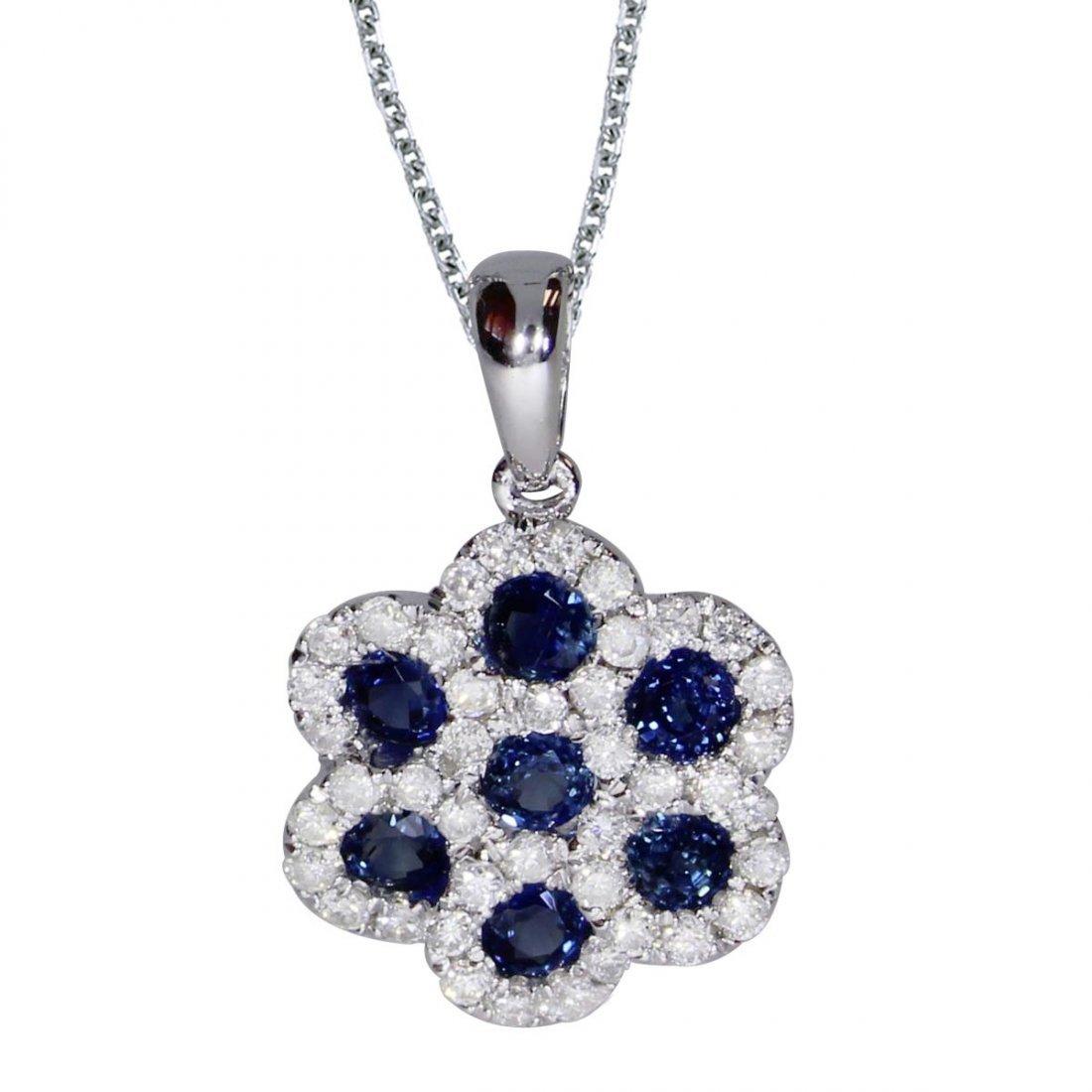 Certified 14k White Gold Round Sapphire Flower Pendant