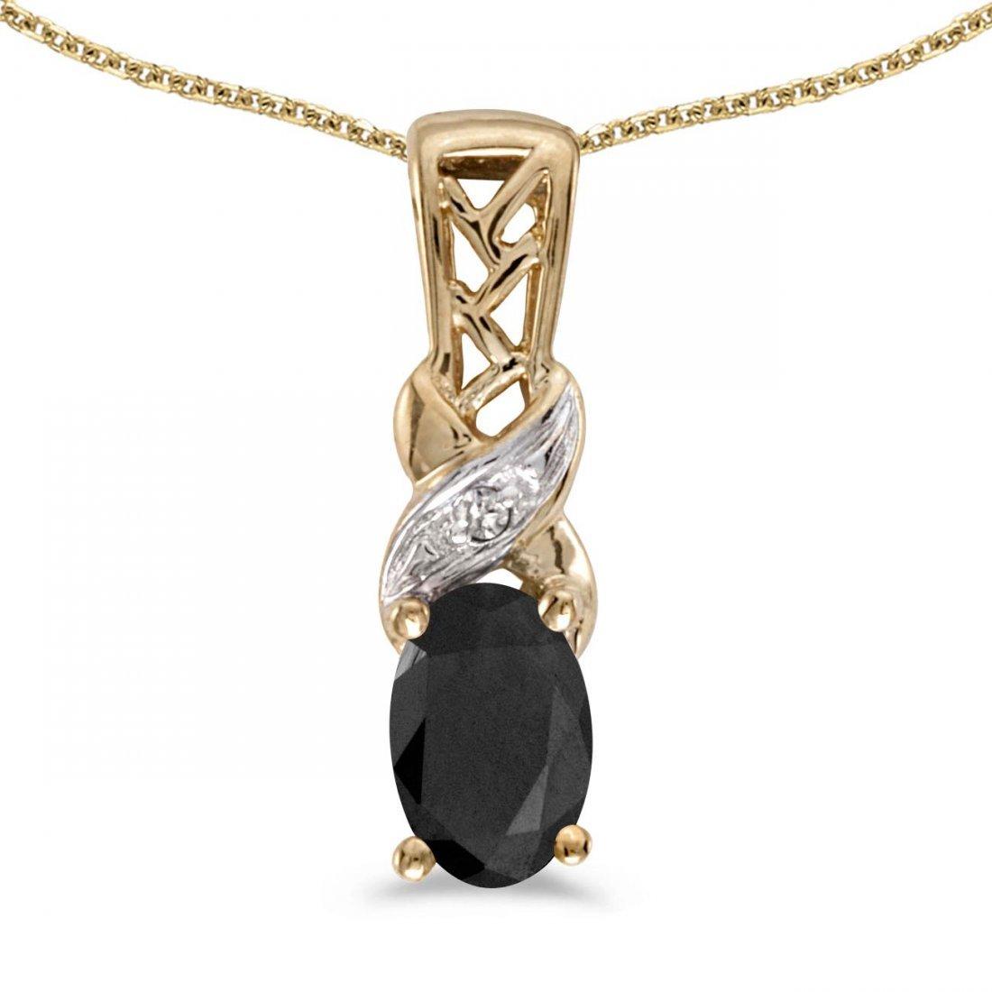 Certified 14k Yellow Gold Oval Onyx And Diamond Pendant