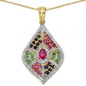 Ruby Glass Filled:pears/6x4mm 1/0.45 Ctw + Emerald:roun