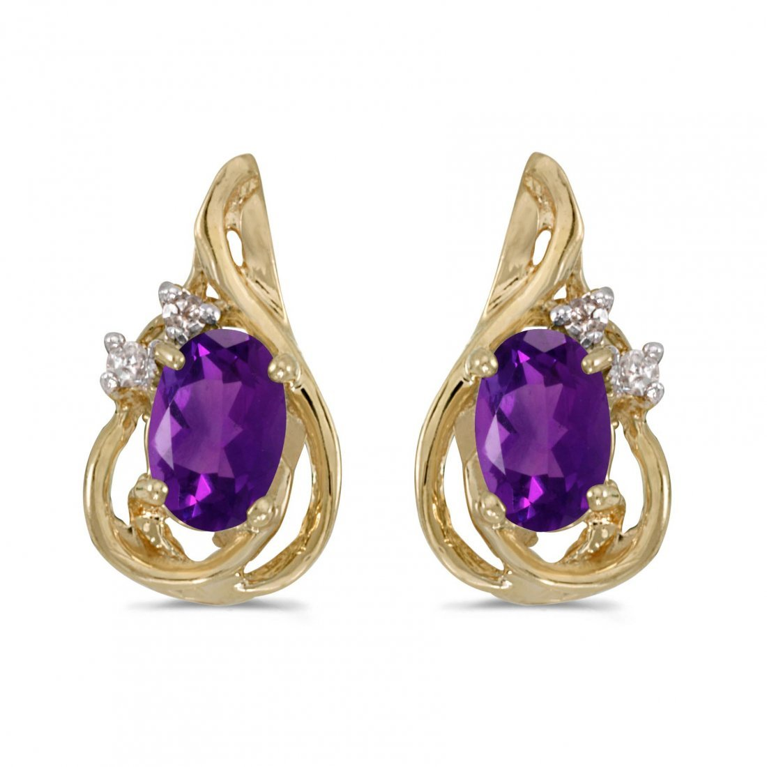 Certified 14k Yellow Gold Oval Amethyst And Diamond Tea