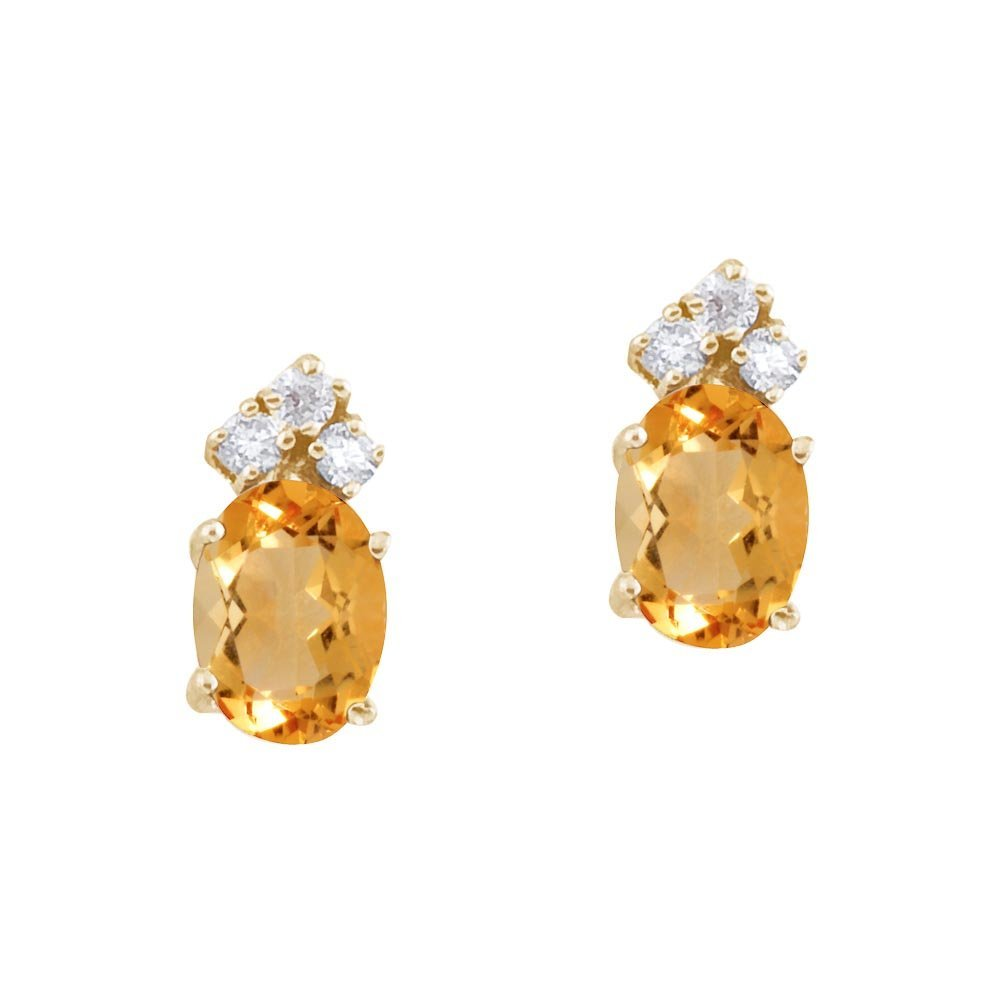 Certified 14k Yellow Gold Citrine and Diamond Oval Earr
