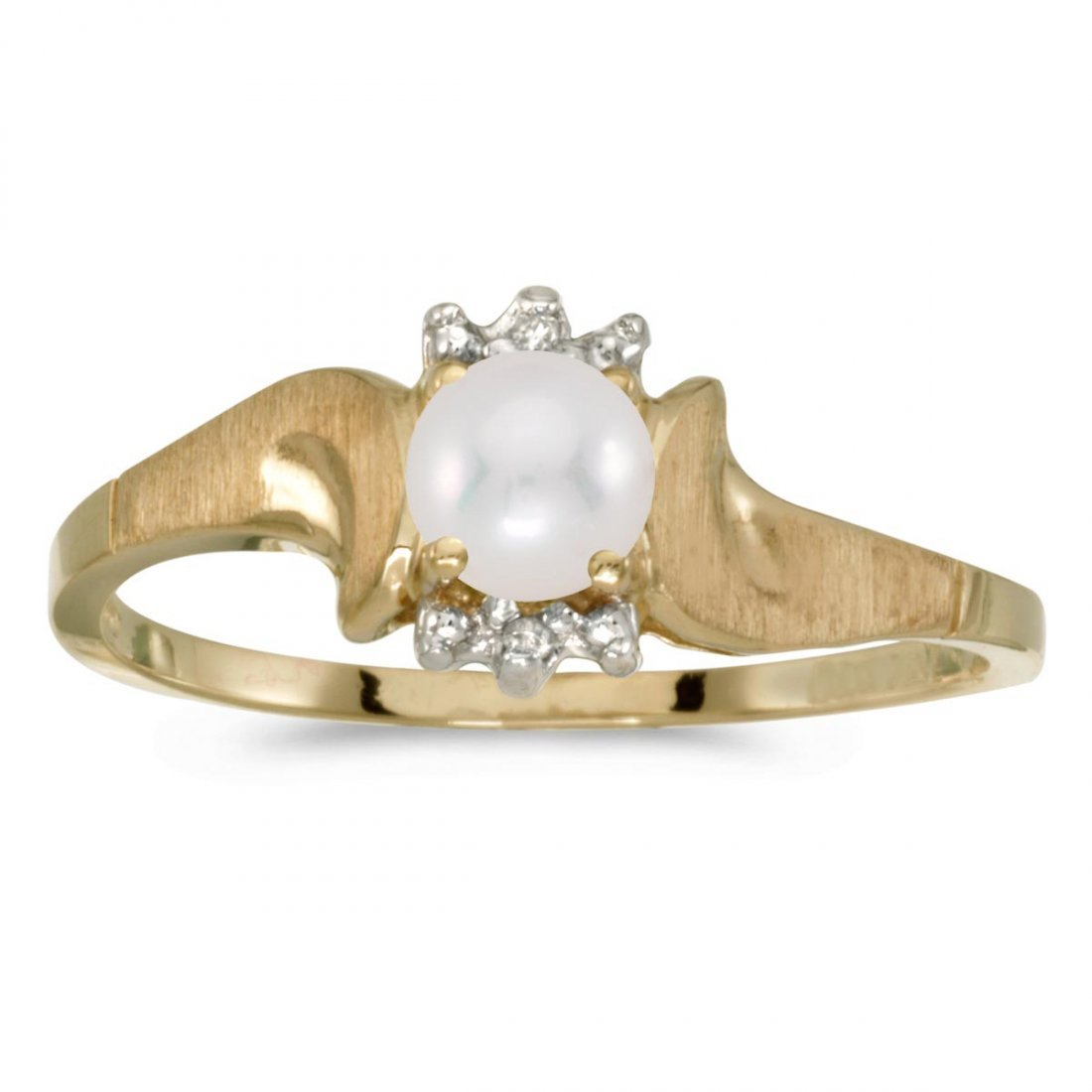 Certified 10k Yellow Gold Pearl And Diamond Satin Finis