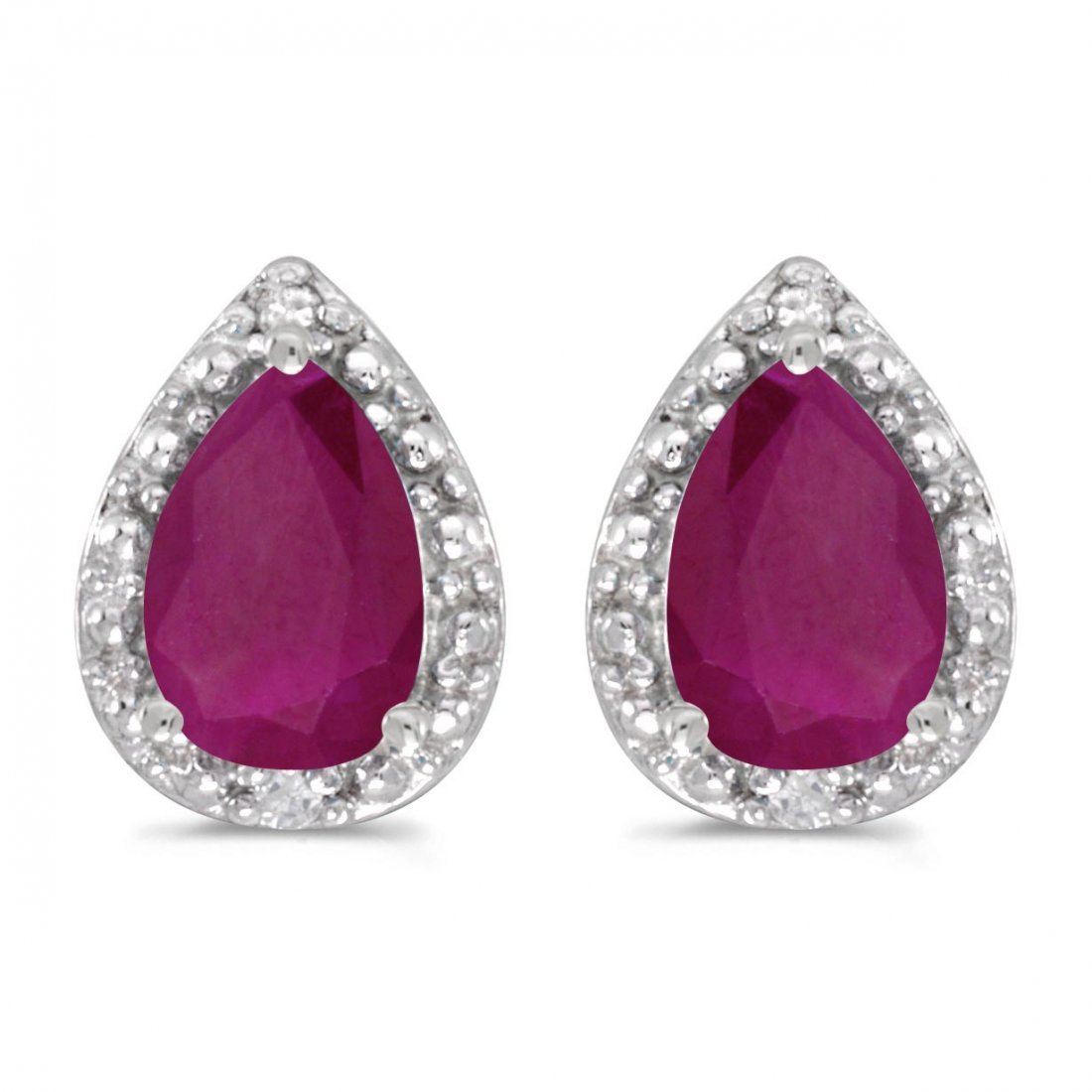 Certified 14k White Gold Pear Ruby And Diamond Earrings