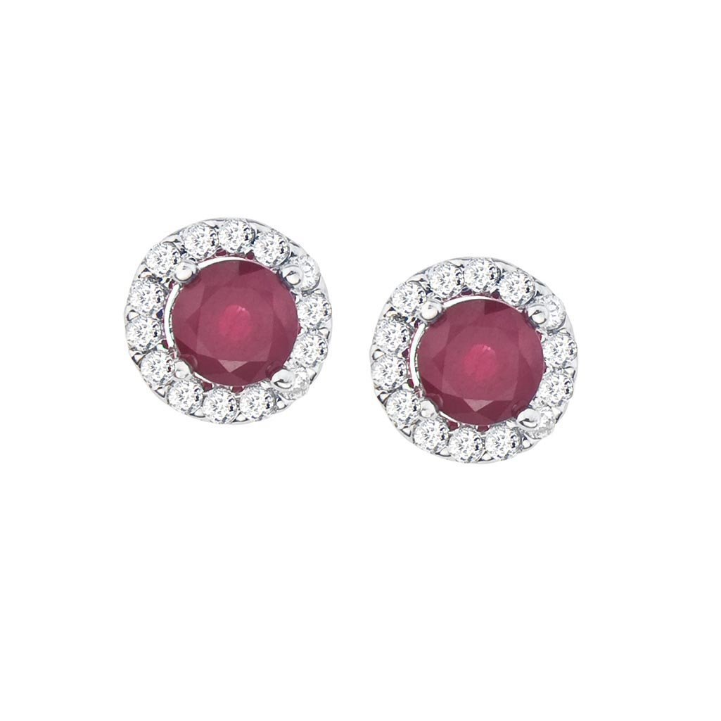Certified 14k White Gold Ruby and Diamond Halo Earrings
