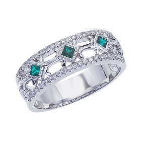 Certified 14k White Gold Emerald Diamond Open Band