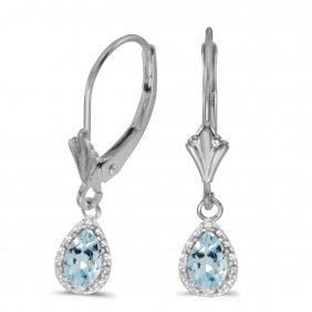 Certified 10k White Gold Pear Aquamarine And Diamond Le
