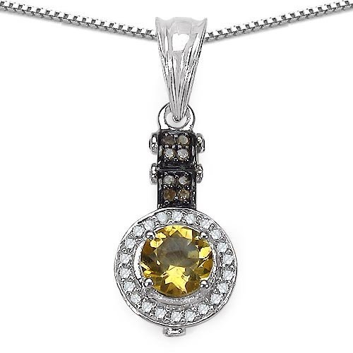 Citrine:Round/6.00mm 1/0.77 ctw + Diamond Champagne:Rou