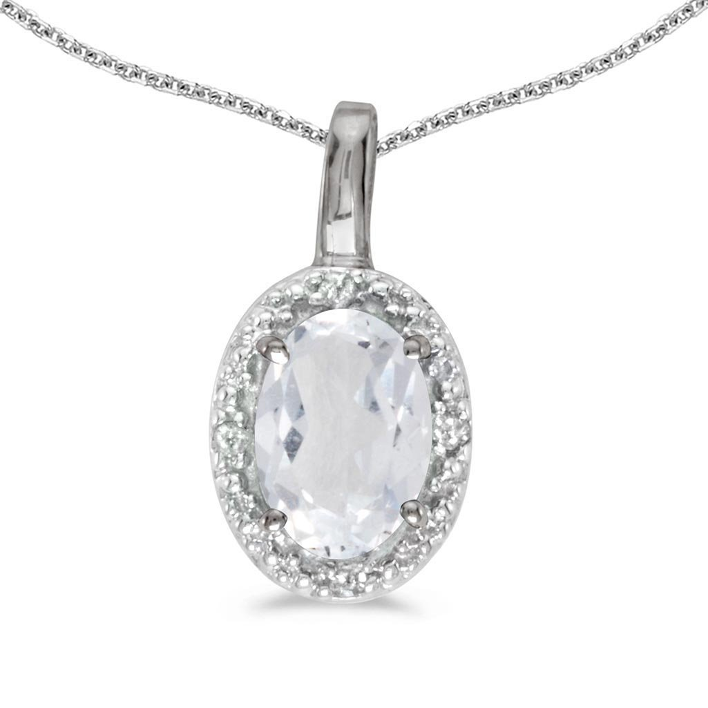 Certified 10k White Gold Oval White Topaz And Diamond P