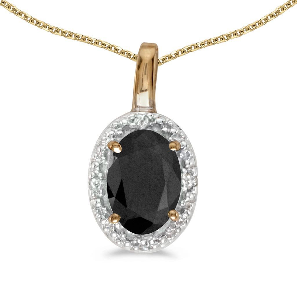 Certified 10k Yellow Gold Oval Onyx And Diamond Pendant