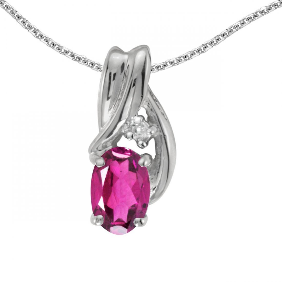Certified 14k White Gold Oval Pink Topaz And Diamond Pe