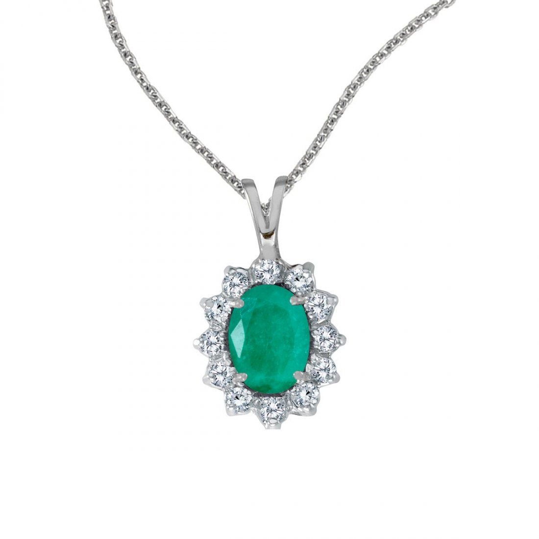 Certified 14k White Gold Oval Emerald Pendant with Diam