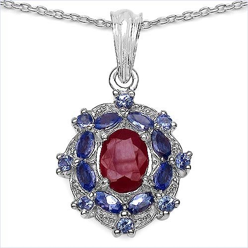 Ruby Glass Filled:Oval/9x7mm 1/2.51 ctw + Tanzanite:Mar