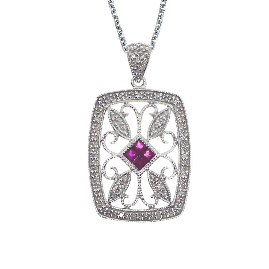 Certified 14k White Gold Ruby and Diamond Open Clover P