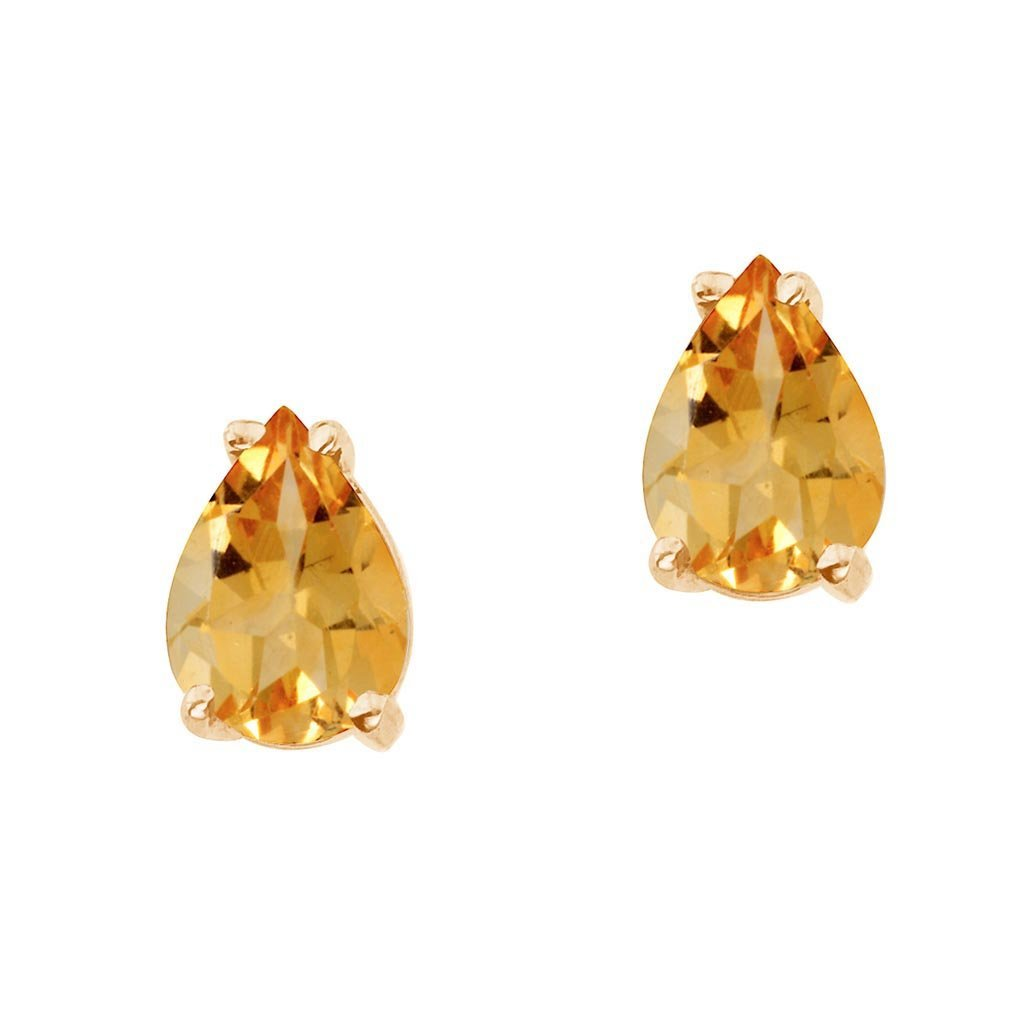Certified 14k Yellow Gold Pear Shaped Citrine Earrings