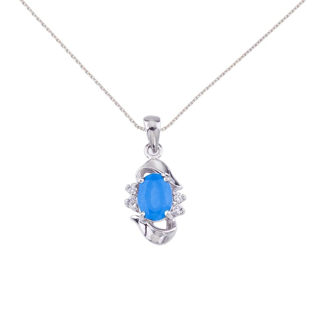 Certified 14k White Gold Oval Blue Topaz And Diamond Pe