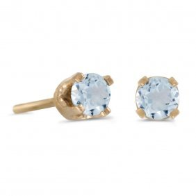 Certified 3 Mm Petite Round Genuine Aquamarine Stud Ear