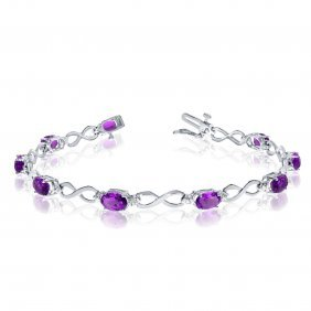 Certified 14k White Gold Oval Amethyst And Diamond Brac