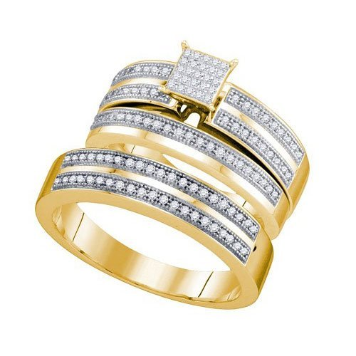 10K Yellow-gold 0.40CT DIAMOND MICRO PAVE TRIO SET