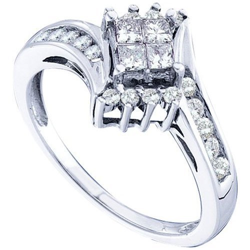 14KT White Gold 0.49CTW DIAMOND LADIES INVISIBLE RING