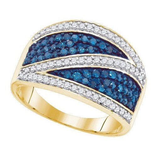 10KT Yellow Gold 0.75CTW BLUE DIAMOND MICRO-PAVE RING
