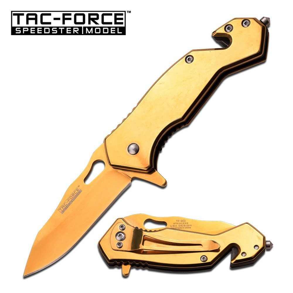 "TAC-FORCE 3.75"" CLOSED S/A POCKET KNIFE; GOLD TI-COAT H"