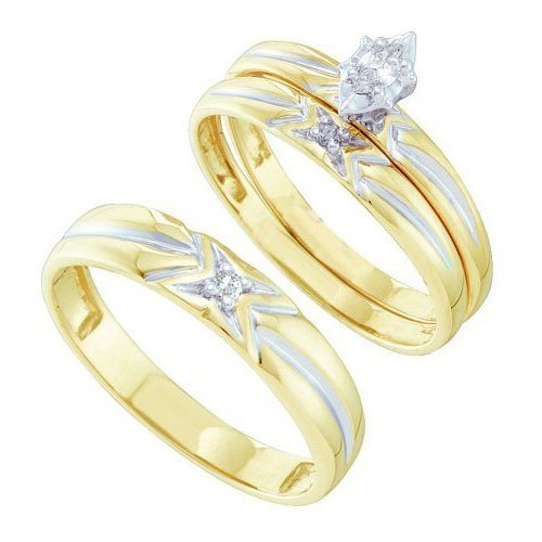 10K Yellow-gold 0.11CTW DIAMOND LADIES TRIO SET