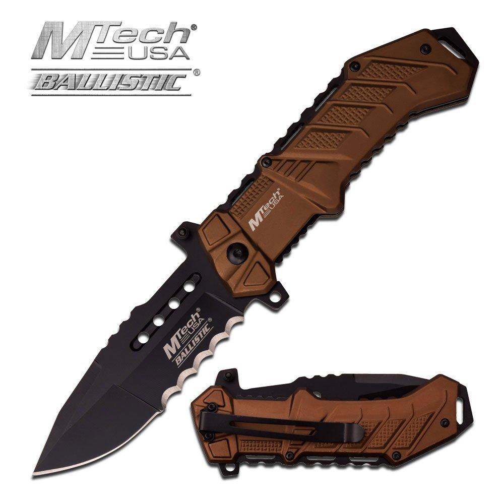 "MTECH 8.5"" S/A POCKET KNIFE; ALUMINUM HANDLE, SERRATED"