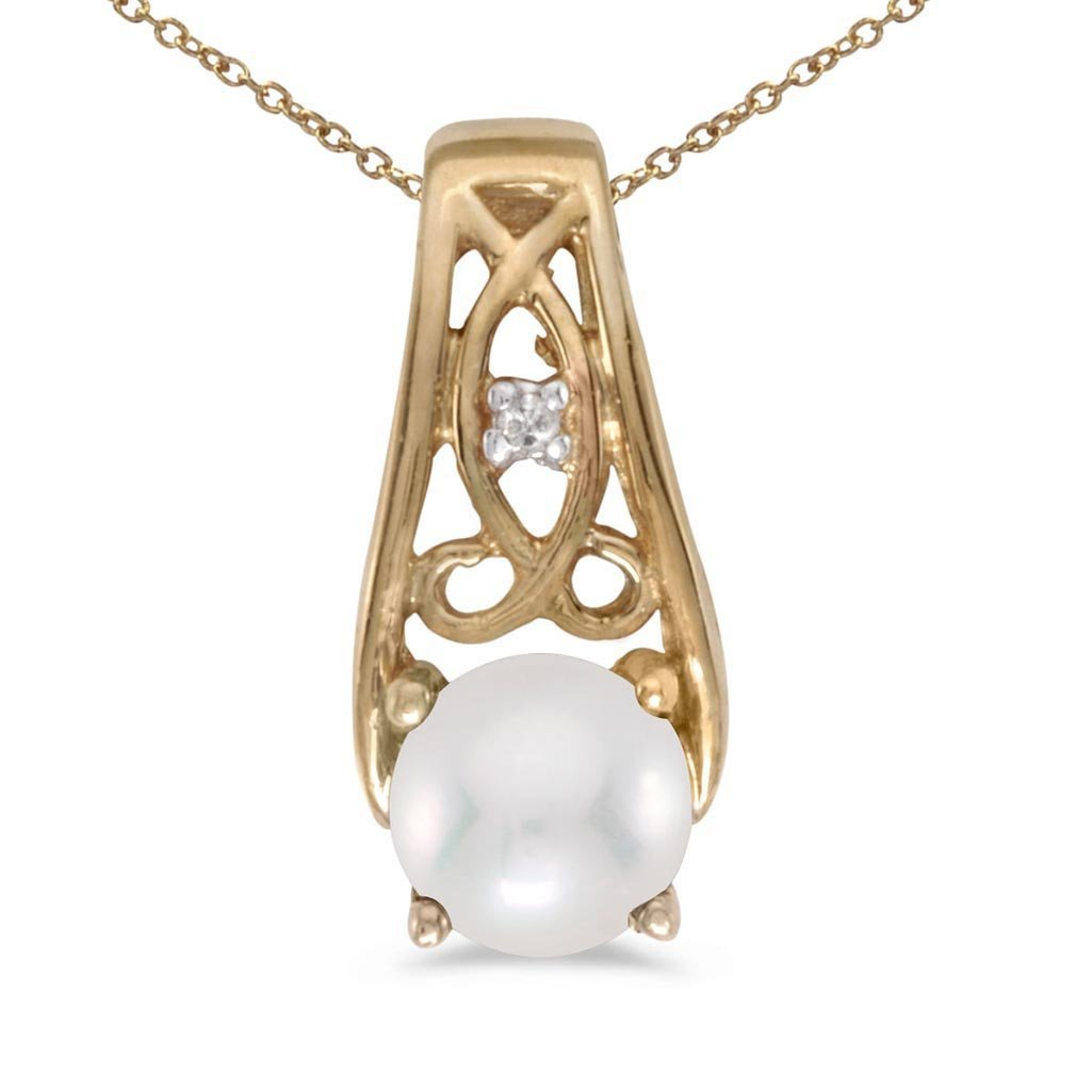 Certified 10k Yellow Gold Pearl And Diamond Pendant