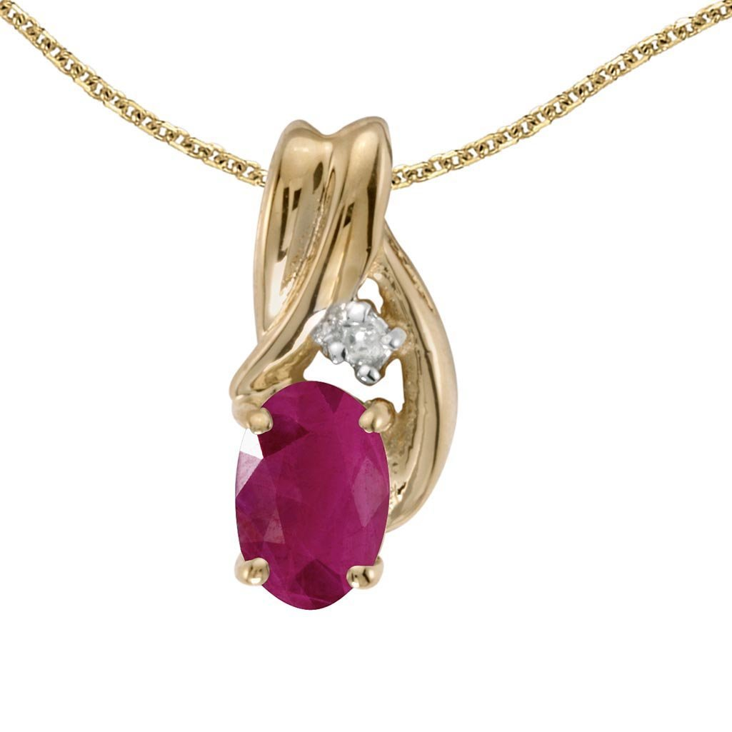 Certified 10k Yellow Gold Oval Ruby And Diamond Pendant