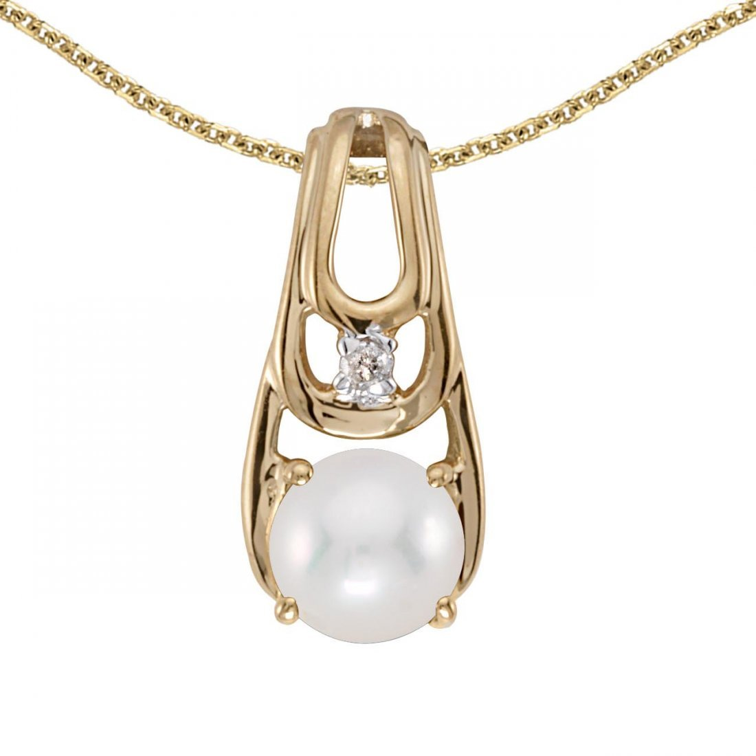 Certified 14k Yellow Gold Pearl And Diamond Pendant