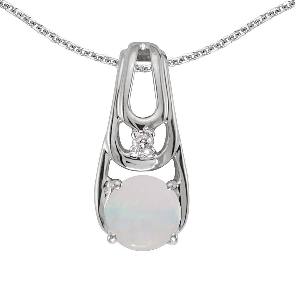Certified 10k White Gold Round Opal And Diamond Pendant