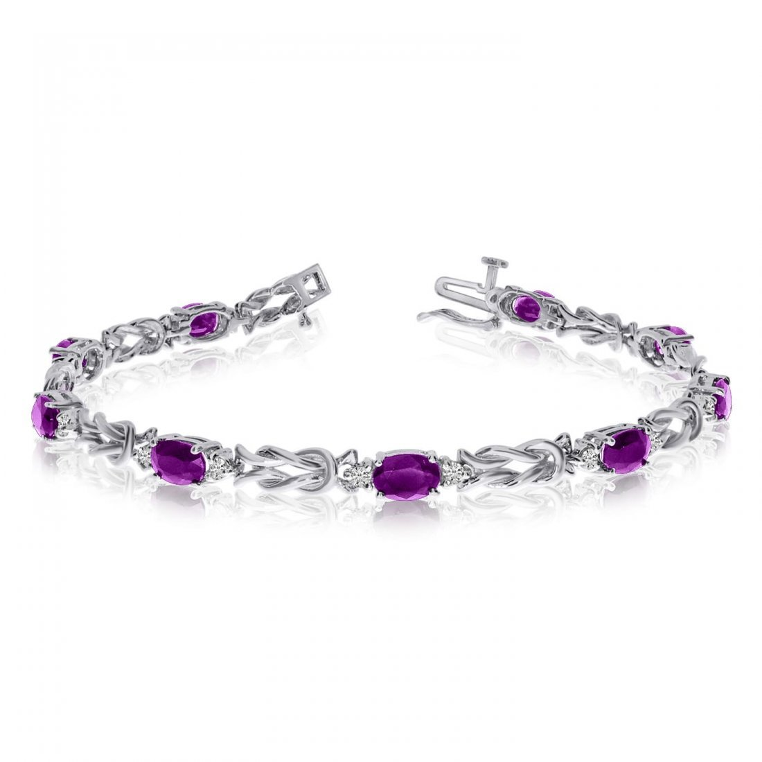 Certified 14k White Gold Natural Amethyst And Diamond T