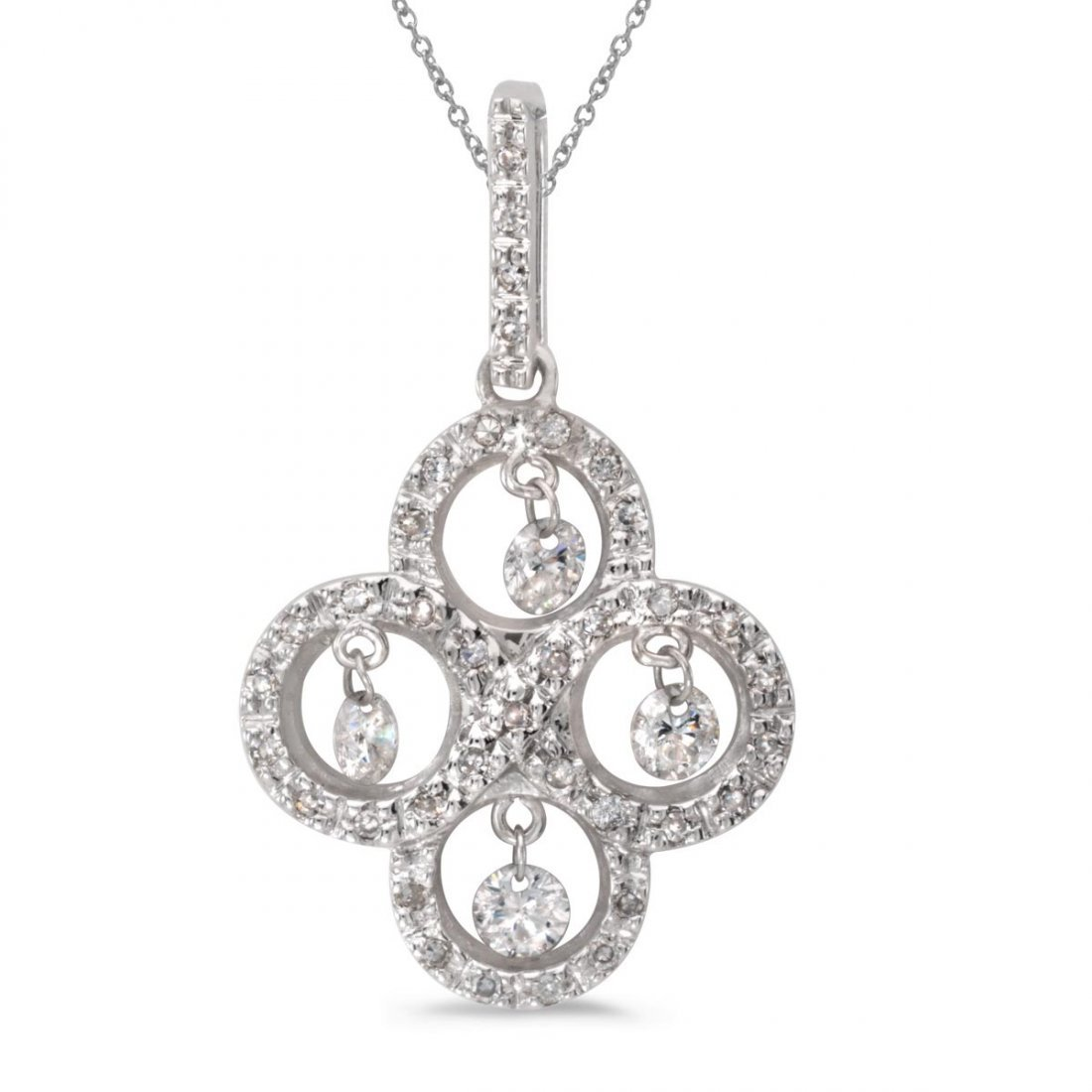 Certified 14K White Gold Dashing Diamonds Pendant 0.43