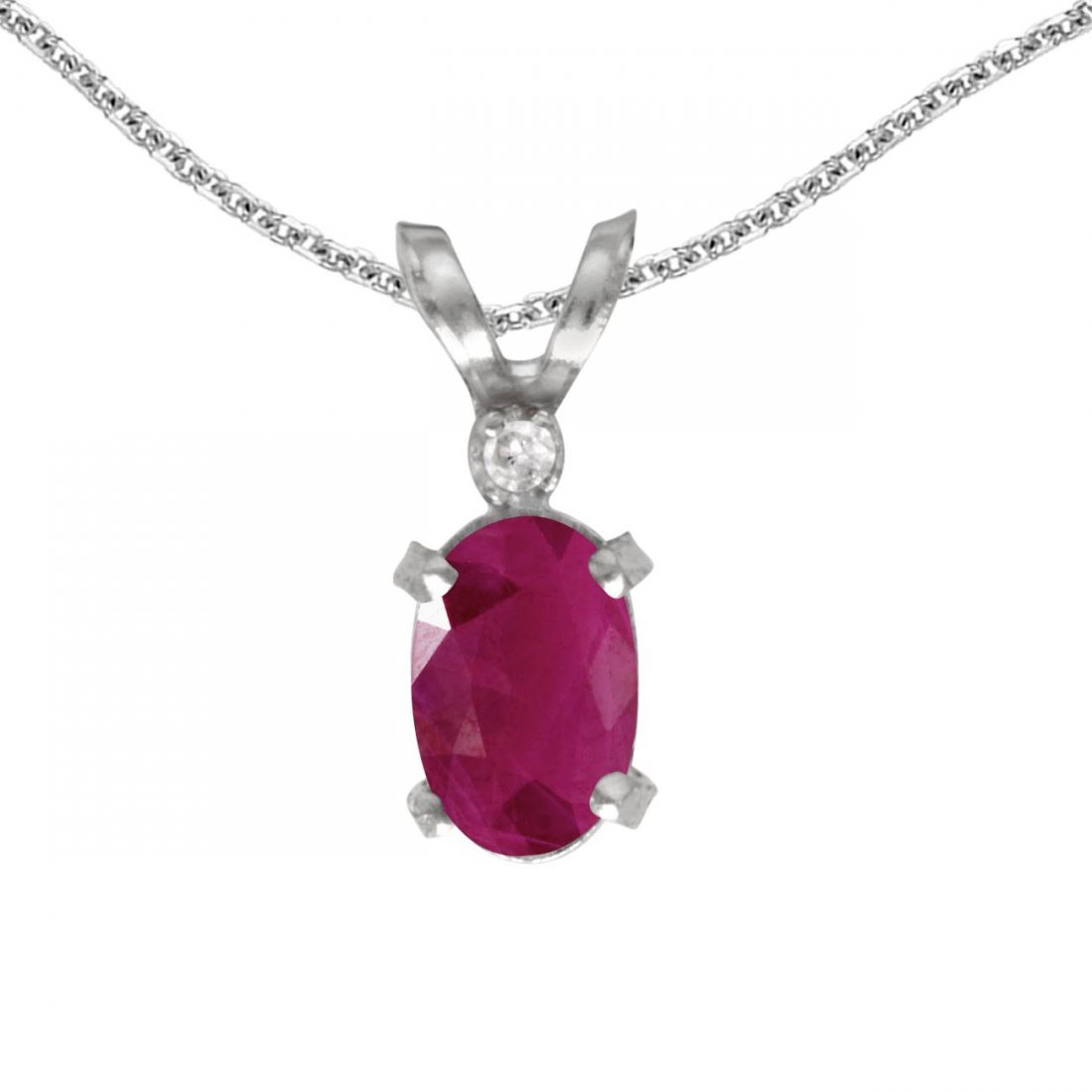 Certified 14k White Gold Oval Ruby And Diamond Filagree