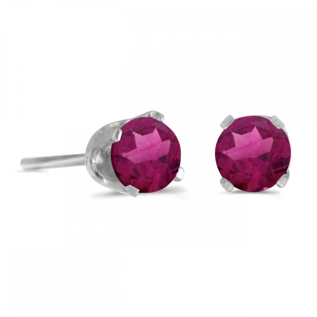 Certified 4 mm Round Rhodolite Garnet Stud Earrings in
