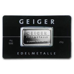 20 gram Silver Bar - Geiger Edelmetalle (Mirror Finish/