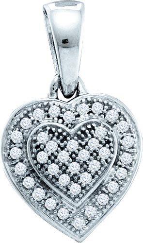 10KT White Gold 0.10CTW DIAMOND HEART PENDANT