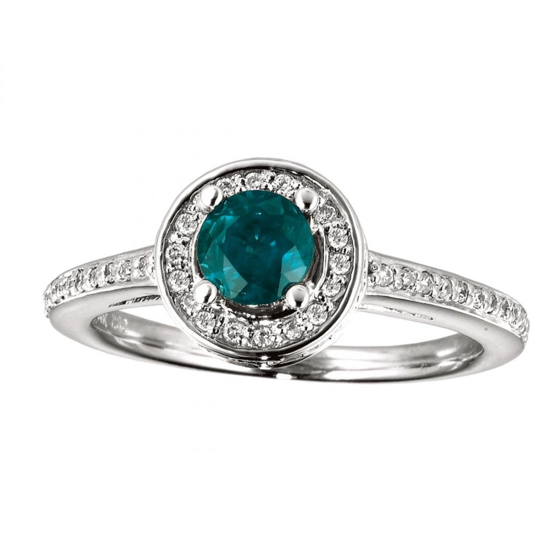 Certified 14k White Gold Emerald and Diamond Double Cir