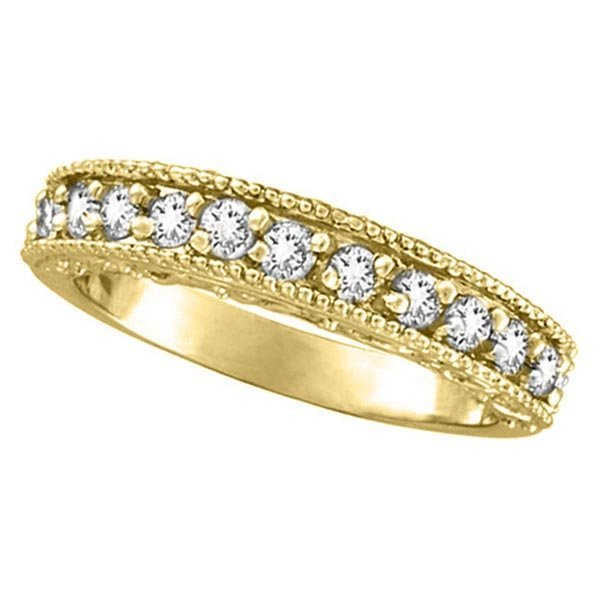 Semi-Eternity Diamond Ring Wedding Band 14k Yellow Gold