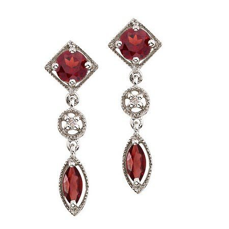 Round and Marquise Garnet and Diamond Dangling Earrings
