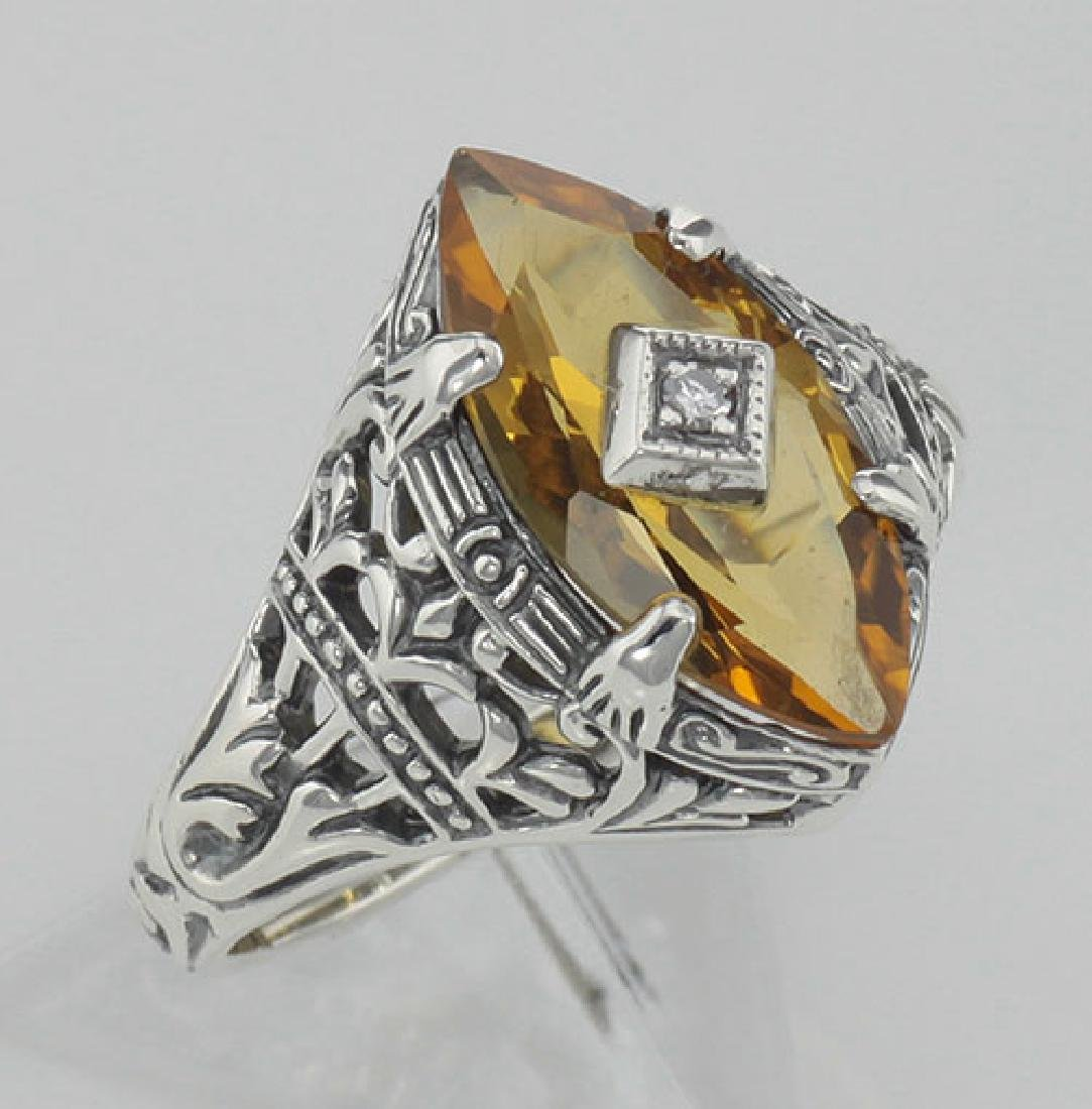 Antique Victorian Style Citrine Filigree Ring w/ Diamon