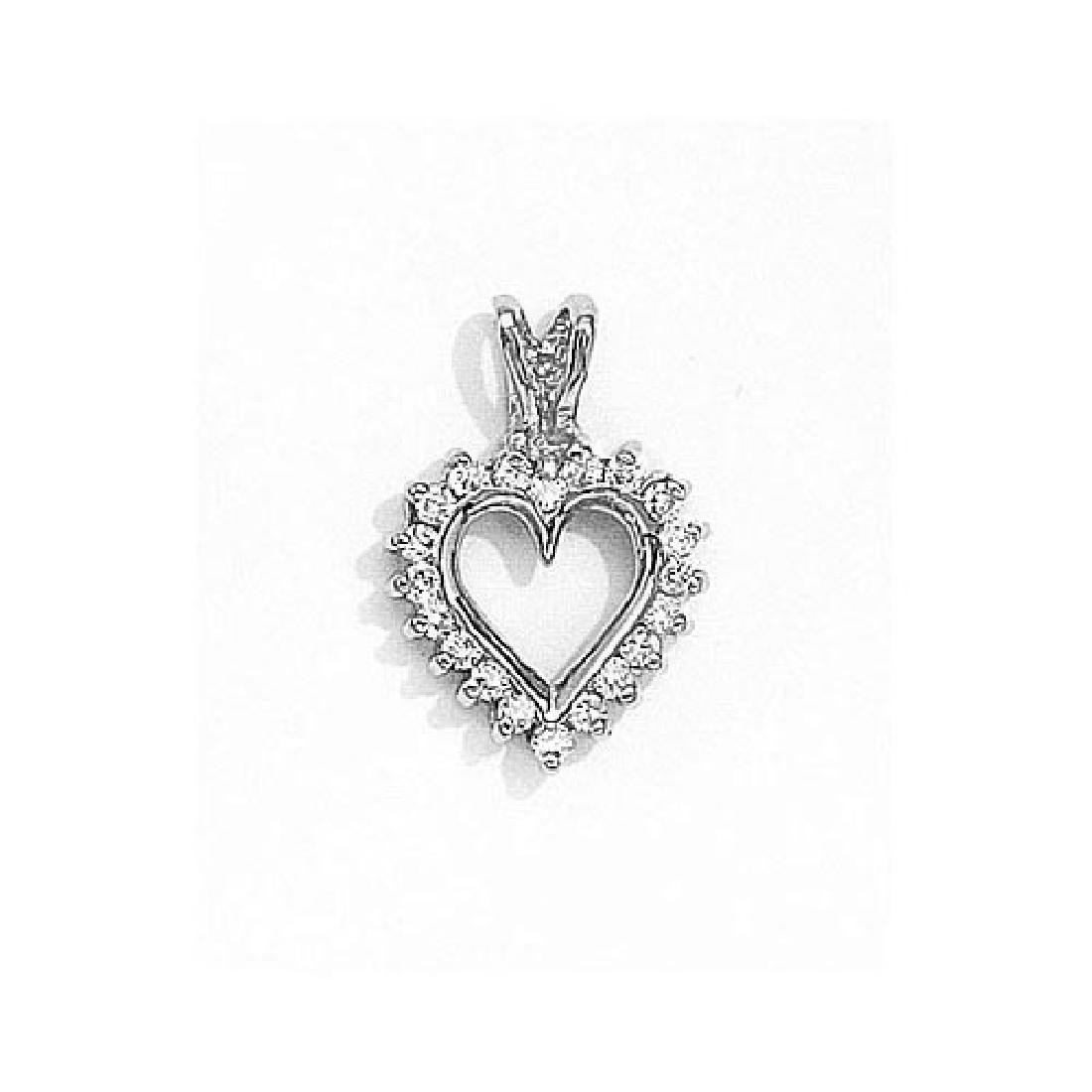 Certified 14K White Gold Diamond Heart Pendant 0.25 CTW