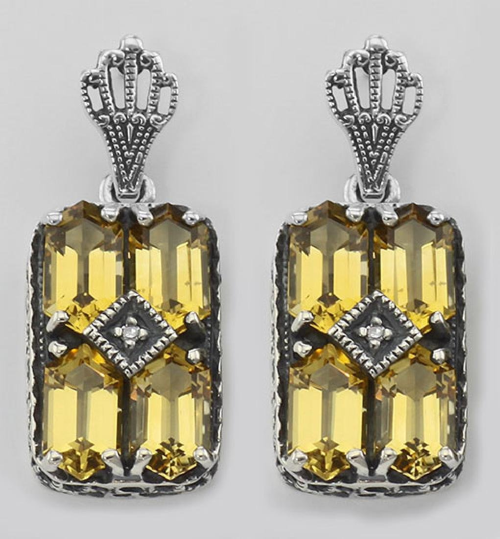 Art Deco Style Citrine w/ Diamond Art Deco Earrings - S
