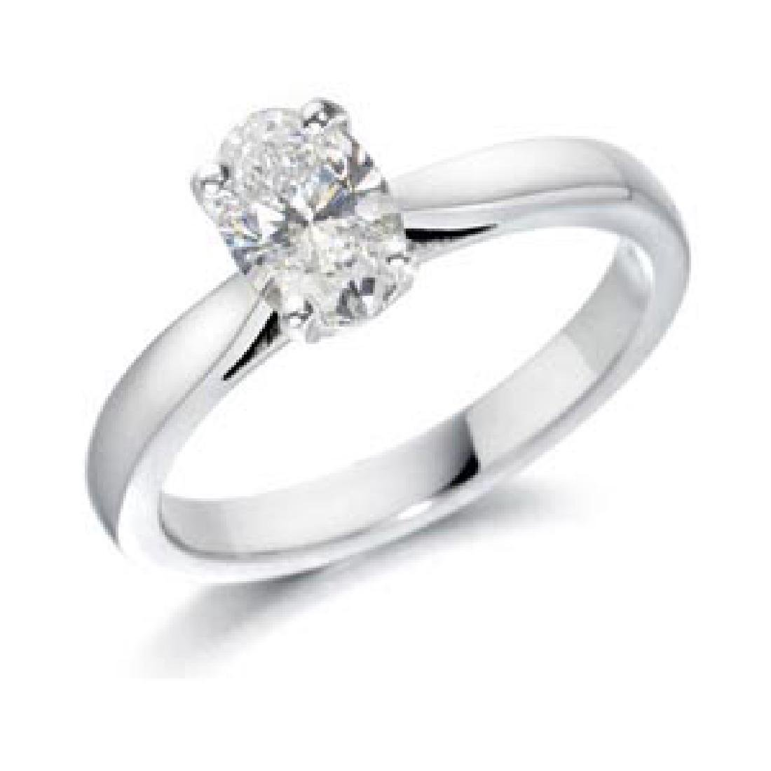 CERTIFED 0.82 CTW OVAL SOLITAIRE 14K WHITE GOLD DIAMOND
