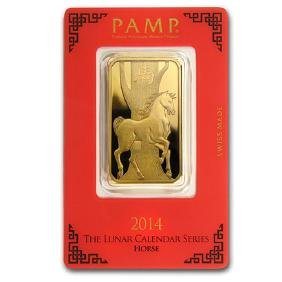 1 oz Gold Bar - PAMP Suisse Year of the Horse (In Assay