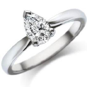 CERTIFED 0.9 CTW PEAR SOLITAIRE 14K WHITE GOLD DIAMOND