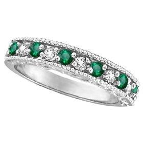 Designer Diamond and Emerald Ring Band in 14k White Gol